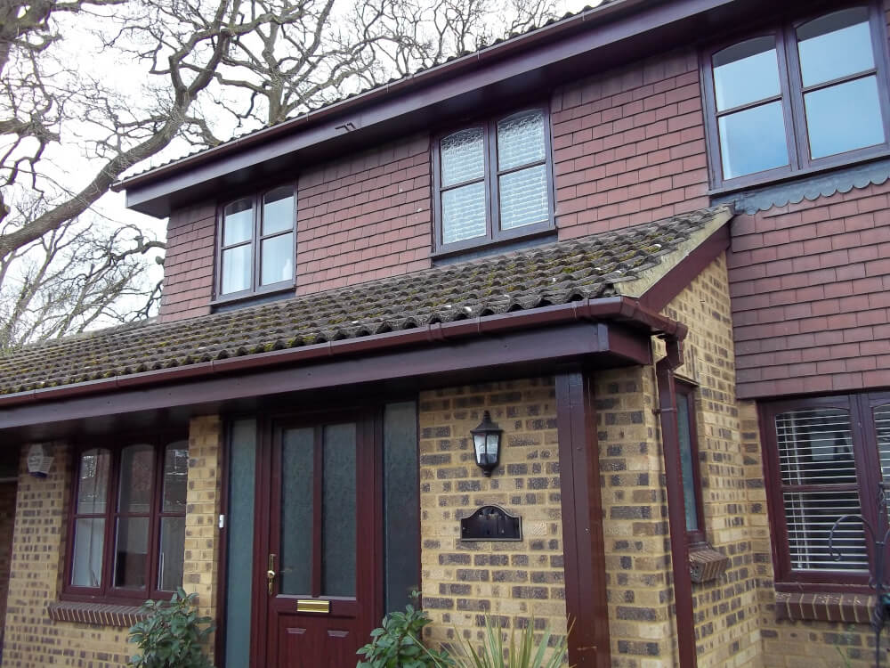 Rosewood Fascia Rosewood Soffit Brown Square Gutter brown square downpipes