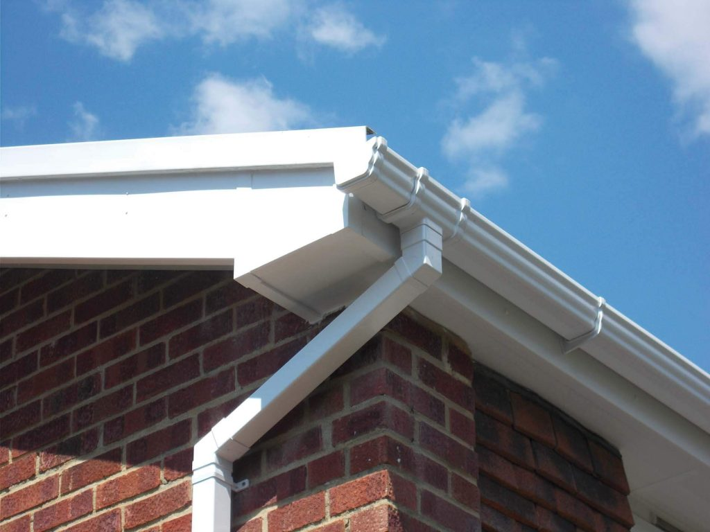 White ogee gutter and square downpipe
